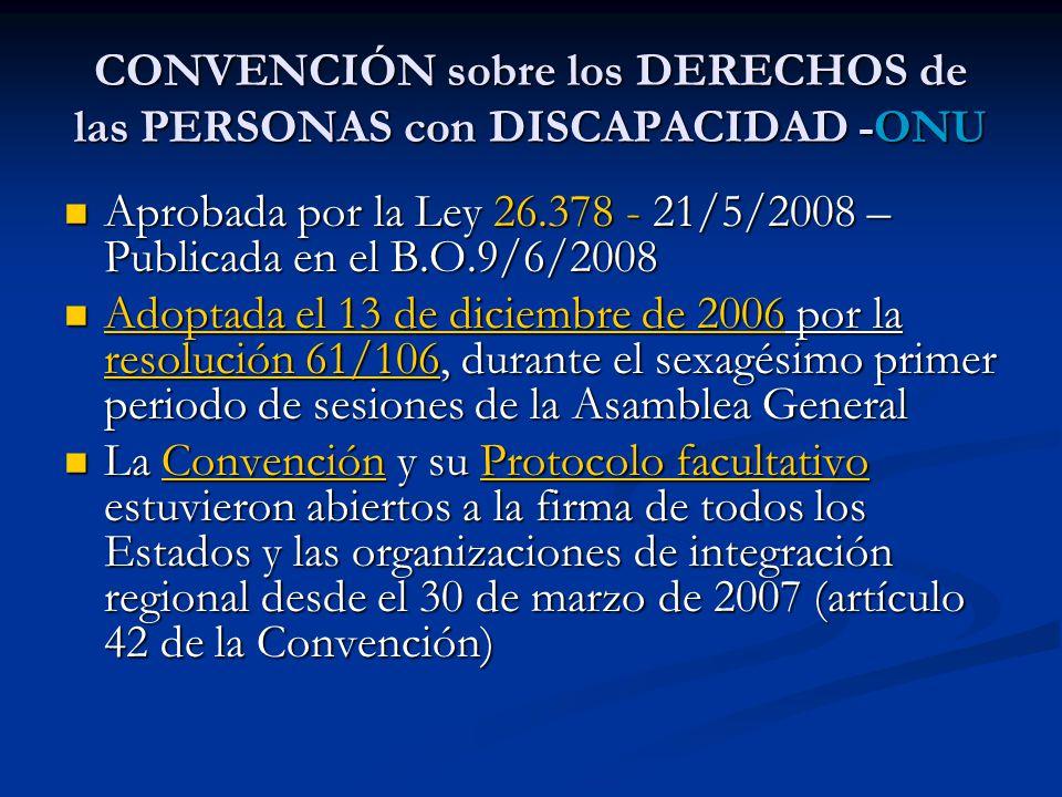 CONVENCIÓN sobre los DERECHOS de las PERSONAS con DISCAPACIDAD -ONU Aprobada por la Ley 26.378 - 21/5/2008 – Publicada en el B.O.9/6/2008 Aprobada por