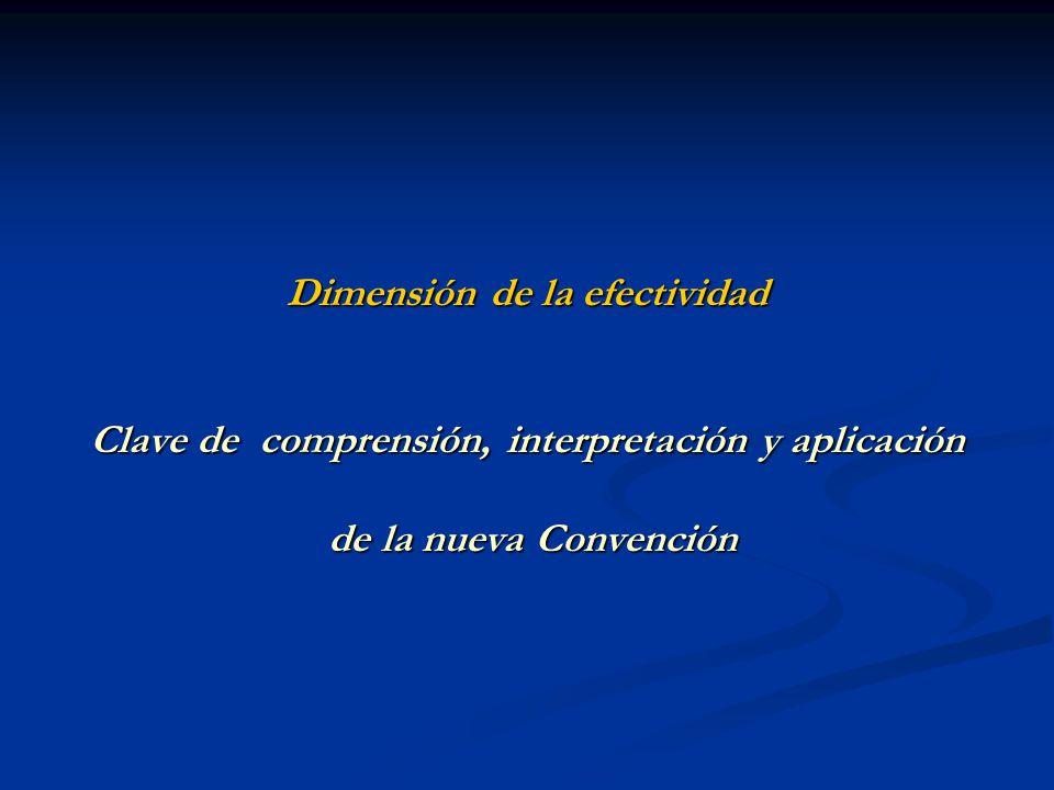 Dimensión de la efectividad Clave de comprensión, interpretación y aplicación de la nueva Convención de la nueva Convención