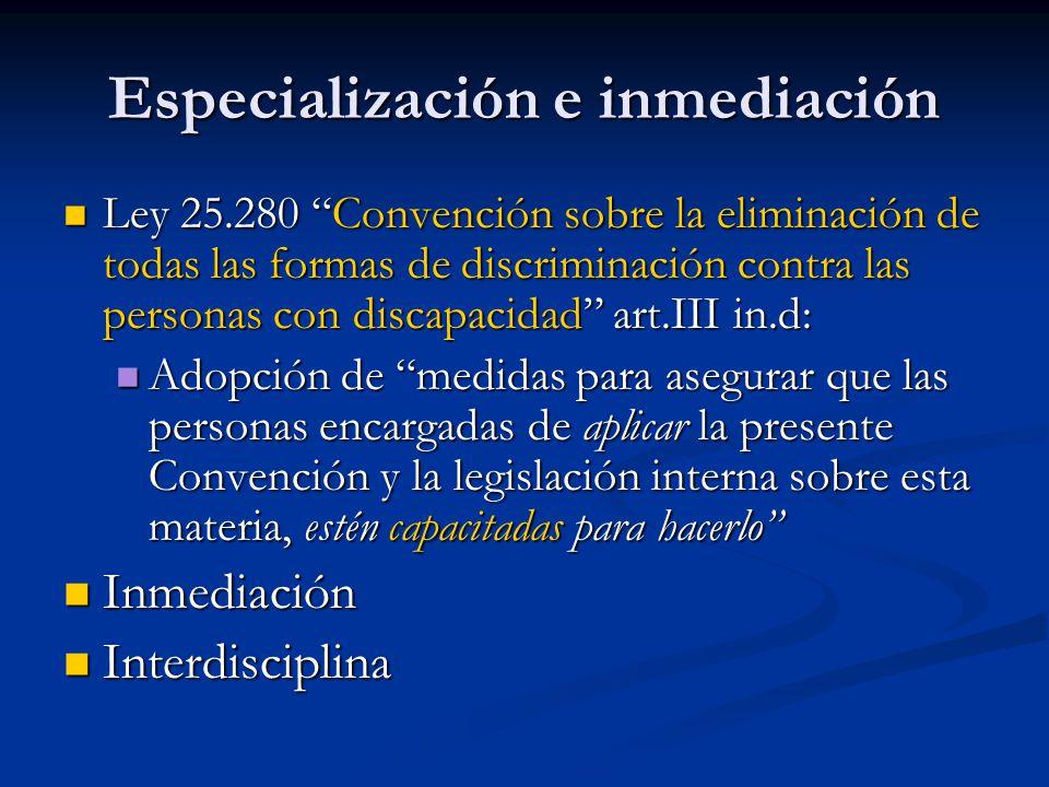 Especialización e inmediación Ley 25.280 Convención sobre la eliminación de todas las formas de discriminación contra las personas con discapacidad ar
