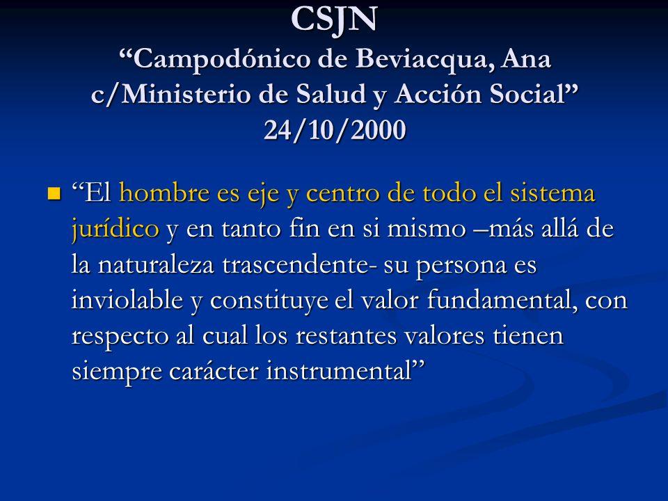 CSJN Campodónico de Beviacqua, Ana c/Ministerio de Salud y Acción Social 24/10/2000 El hombre es eje y centro de todo el sistema jurídico y en tanto f