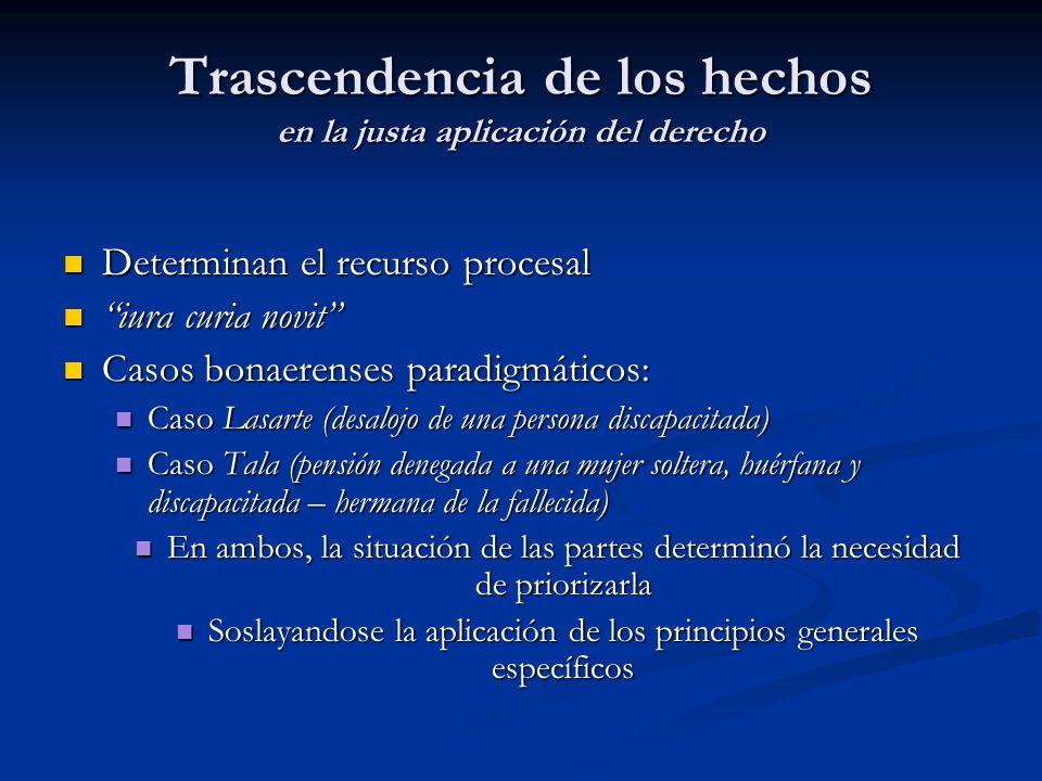 Trascendencia de los hechos en la justa aplicación del derecho Determinan el recurso procesal Determinan el recurso procesal iura curia novit iura cur