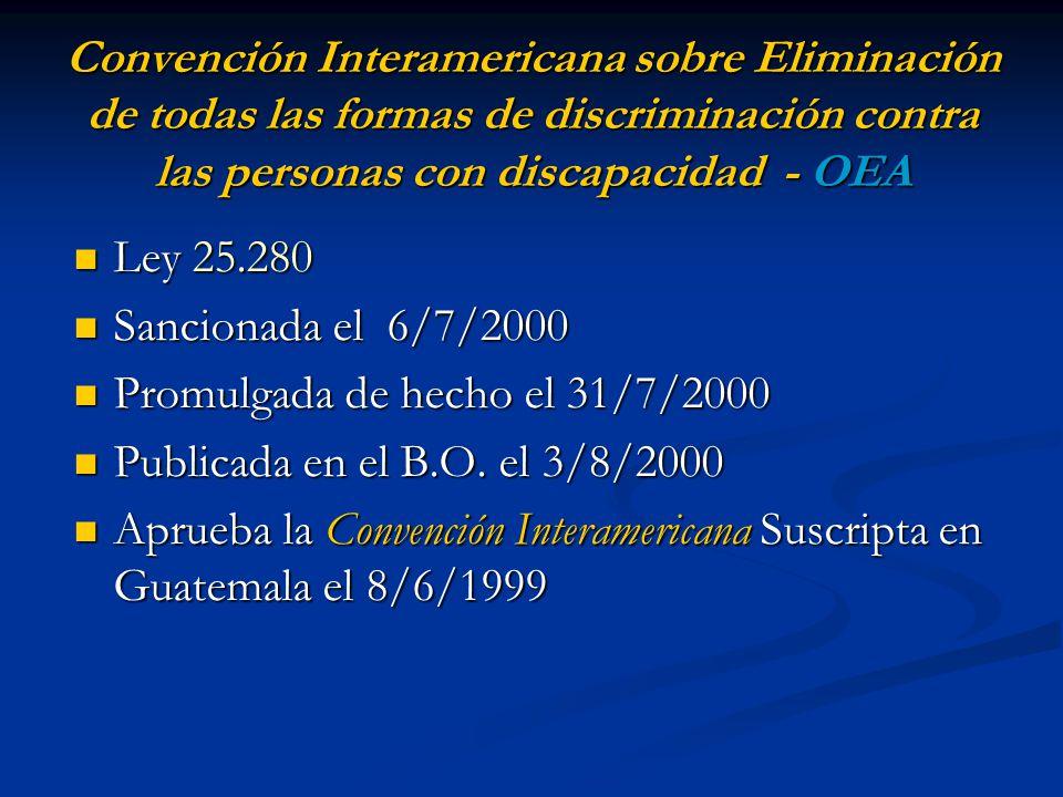 Convención Interamericana sobre Eliminación de todas las formas de discriminación contra las personas con discapacidad - OEA Ley 25.280 Ley 25.280 San