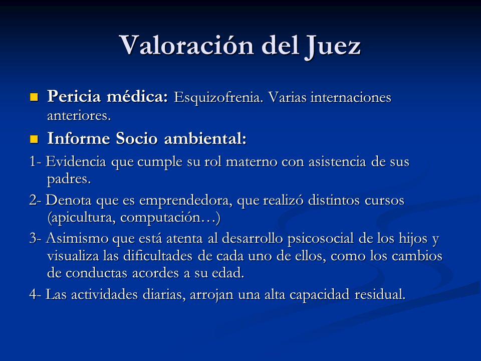 Valoración del Juez Pericia médica: Esquizofrenia. Varias internaciones anteriores. Pericia médica: Esquizofrenia. Varias internaciones anteriores. In