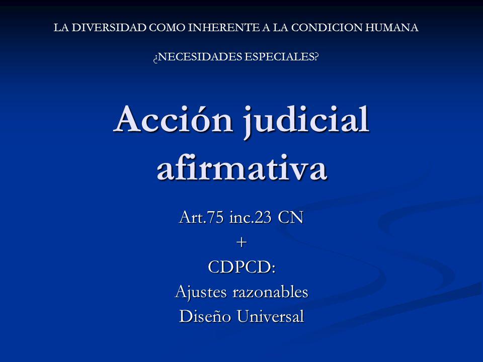 Acción judicial afirmativa Art.75 inc.23 CN +CDPCD: Ajustes razonables Diseño Universal LA DIVERSIDAD COMO INHERENTE A LA CONDICION HUMANA ¿NECESIDADE