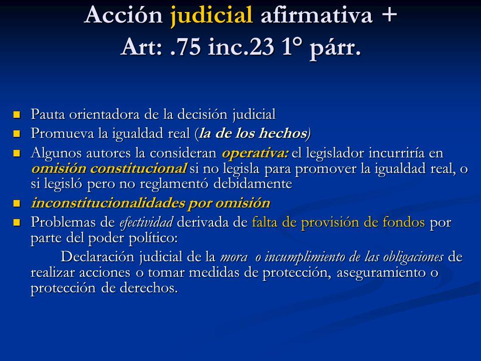 Acción judicial afirmativa + Art:.75 inc.23 1° párr. Pauta orientadora de la decisión judicial Pauta orientadora de la decisión judicial Promueva la i