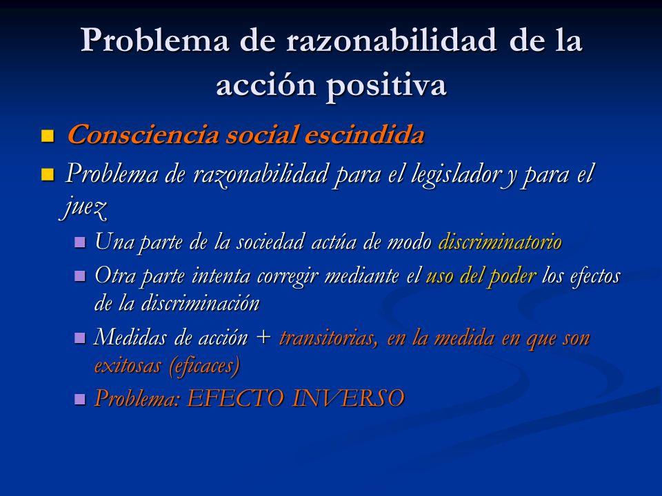 Problema de razonabilidad de la acción positiva Consciencia social escindida Consciencia social escindida Problema de razonabilidad para el legislador