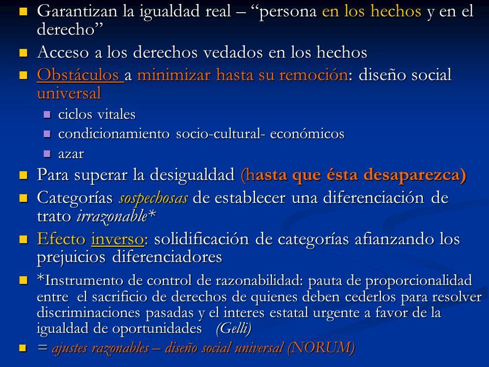 Garantizan la igualdad real – persona en los hechos y en el derecho Garantizan la igualdad real – persona en los hechos y en el derecho Acceso a los d
