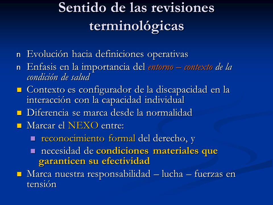 Sentido de las revisiones terminológicas n Evolución hacia definiciones operativas n Enfasis en la importancia del entorno – contexto de la condición
