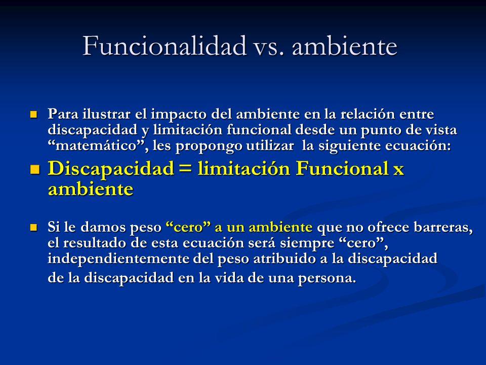 Funcionalidad vs. ambiente Funcionalidad vs. ambiente Para ilustrar el impacto del ambiente en la relación entre discapacidad y limitación funcional d