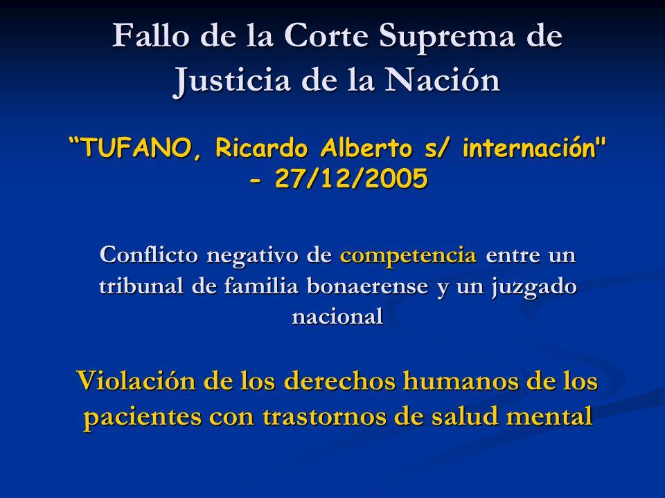 Fallo de la Corte Suprema de Justicia de la Nación TUFANO, Ricardo Alberto s/ internación