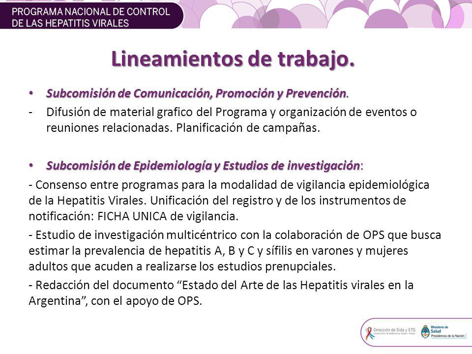 Lineamientos de trabajo.Subcomisión de Comunicación, Promoción y Prevención.