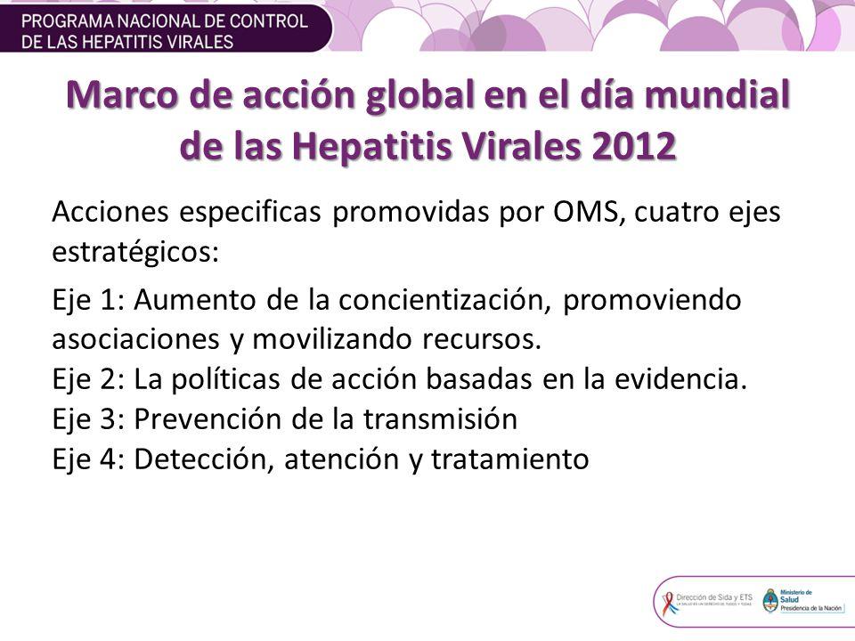 Marco de acción global en el día mundial de las Hepatitis Virales 2012 Acciones especificas promovidas por OMS, cuatro ejes estratégicos: Eje 1: Aumento de la concientización, promoviendo asociaciones y movilizando recursos.