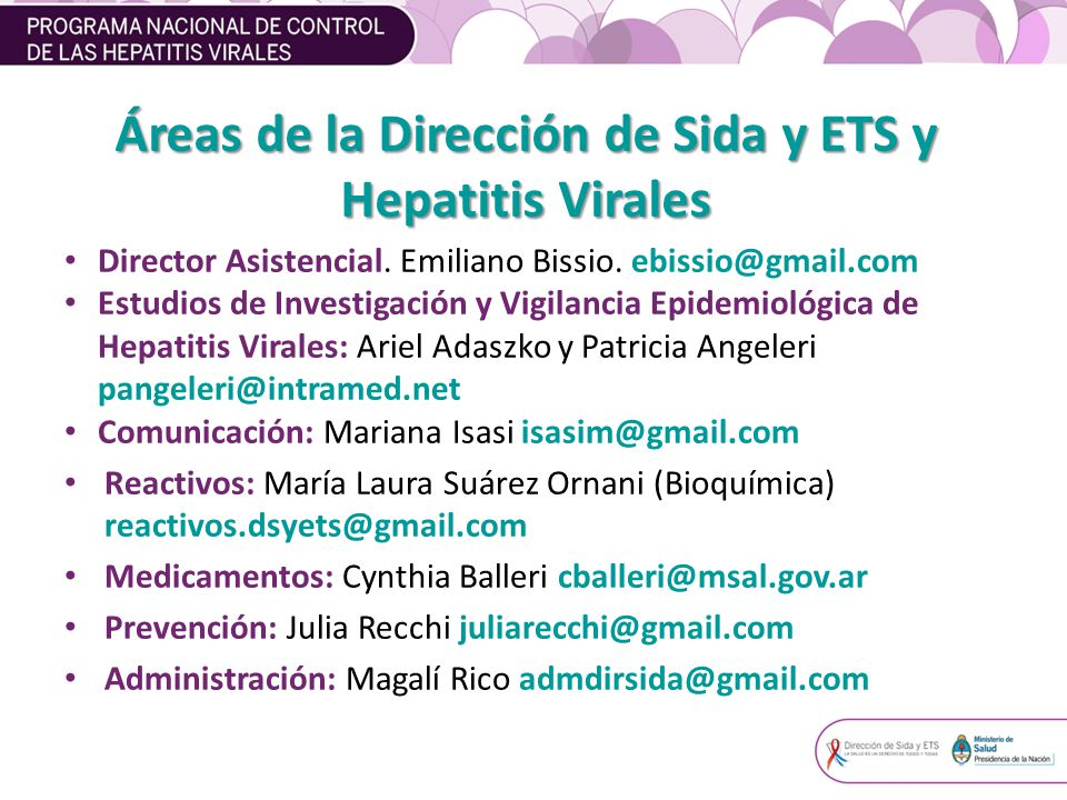 Áreas de la Dirección de Sida y ETS y Hepatitis Virales Director Asistencial.