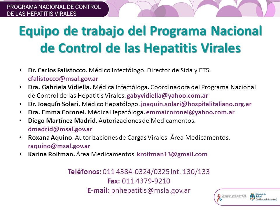 Equipo de trabajo del Programa Nacional de Control de las Hepatitis Virales Dr.