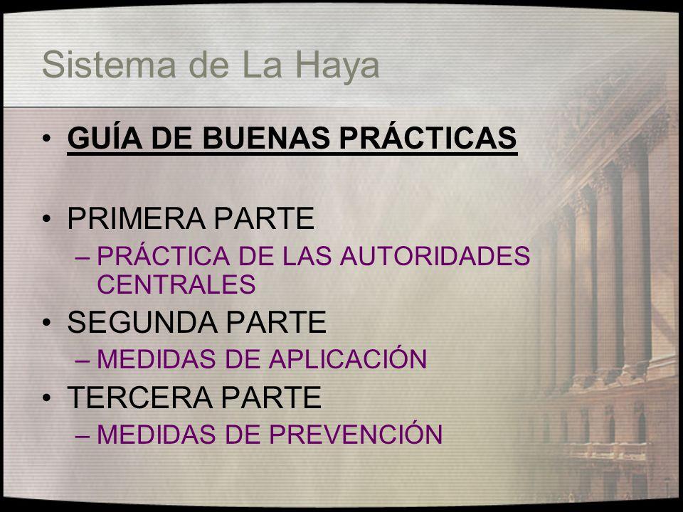 Sistema de La Haya Medidas de Prevención Se deben realizar mayores esfuerzos para desarrollar y aplicar medidas judiciales, administrativas y otras tendientes a prevenir que se produzcan sustracciones.