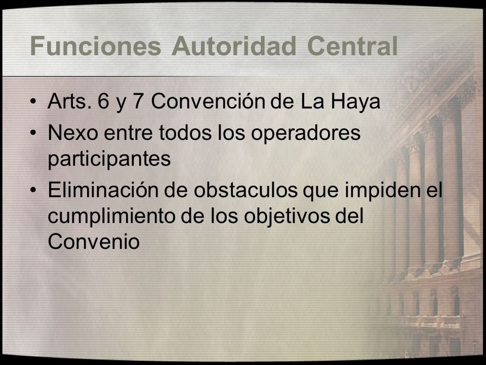 Funcionamiento de la Convención de La Haya Como hacer una denuncia Informalidad Requisitos para la denuncia Actividad Judicial alternativa Operatoria del Convenio Diferencia entre custodia y restitución