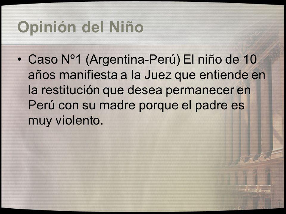 Situacion de Grave Peligro Física o Psíquica Caso Nº1 (Argentina-Perú) La madre opone como defensa que el padre era muy violento y que la maltrataba, para poner fin a esa situación regresa al Perú.