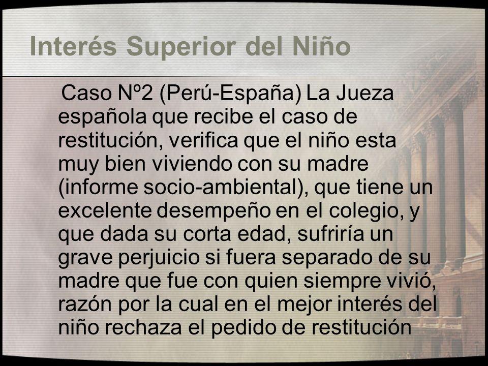 Opinión del Niño Caso Nº1 (Argentina-Perú) El niño de 10 años manifiesta a la Juez que entiende en la restitución que desea permanecer en Perú con su madre porque el padre es muy violento.