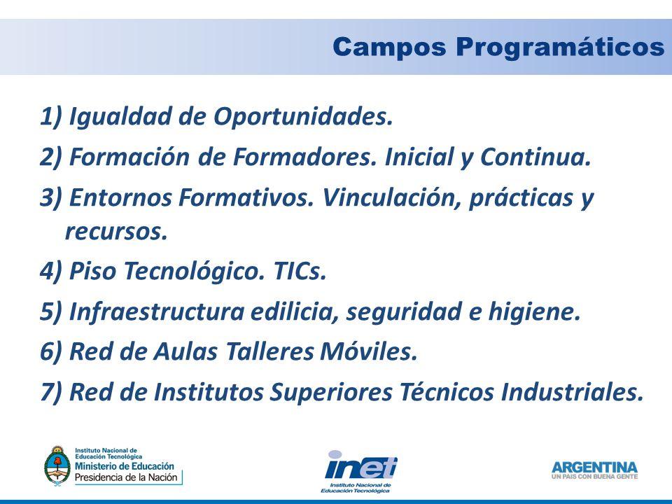 Campos Programáticos 1) Igualdad de Oportunidades.