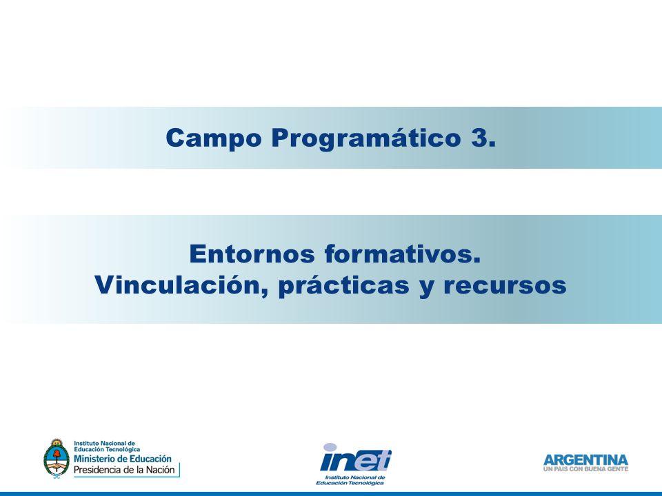 Entornos formativos. Vinculación, prácticas y recursos Campo Programático 3.