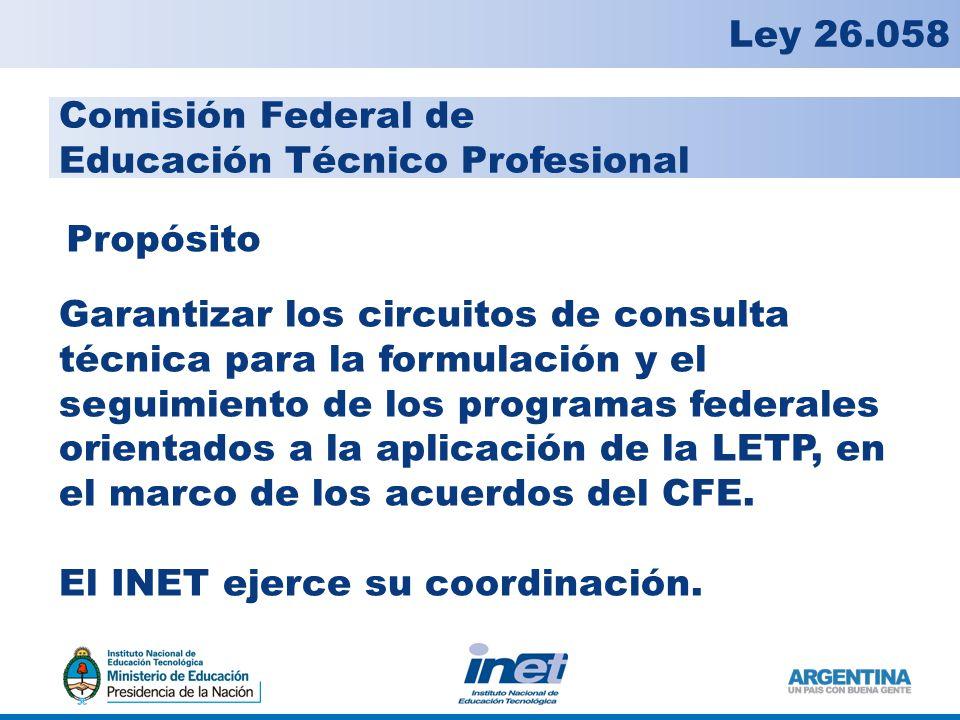 Comisión Federal de Educación Técnico Profesional Garantizar los circuitos de consulta técnica para la formulación y el seguimiento de los programas federales orientados a la aplicación de la LETP, en el marco de los acuerdos del CFE.