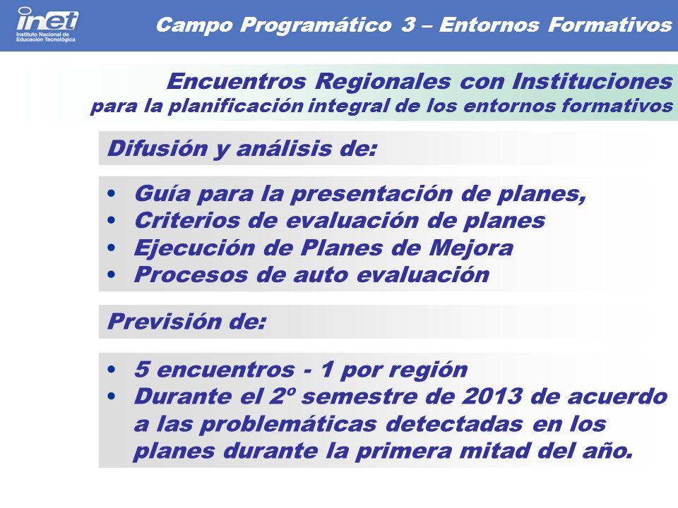 5 encuentros - 1 por región Durante el 2º semestre de 2013 de acuerdo a las problemáticas detectadas en los planes durante la primera mitad del año.