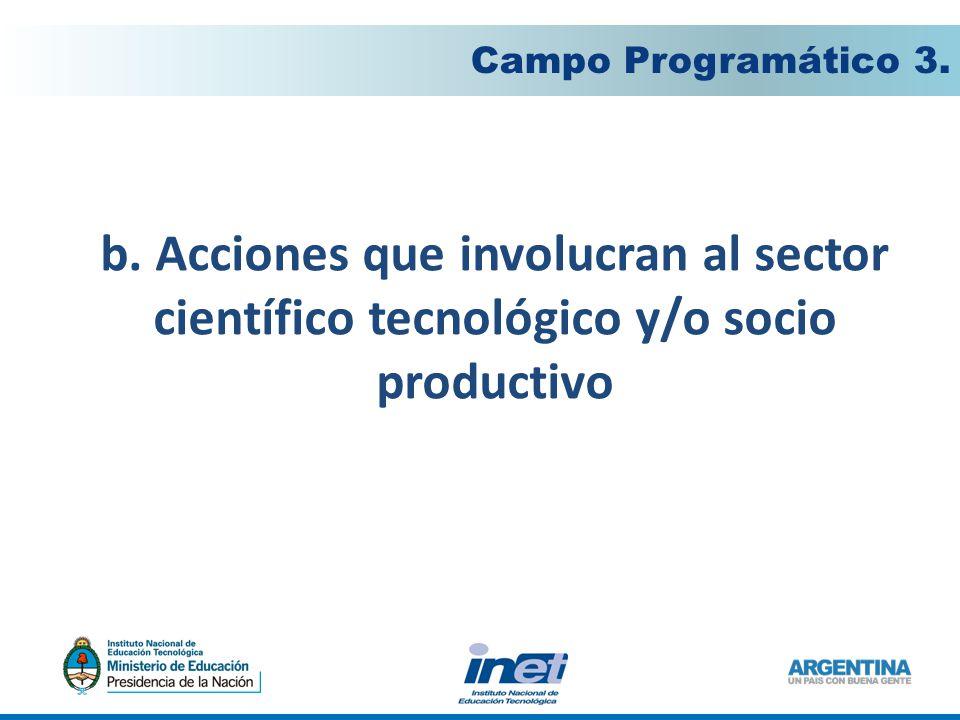 b. Acciones que involucran al sector científico tecnológico y/o socio productivo Campo Programático 3.