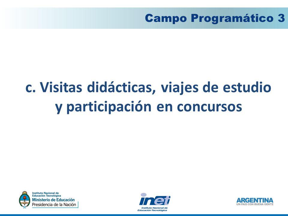 c. Visitas didácticas, viajes de estudio y participación en concursos Campo Programático 3