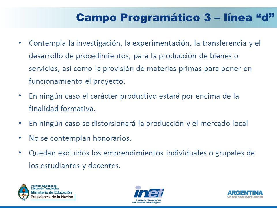 Contempla la investigación, la experimentación, la transferencia y el desarrollo de procedimientos, para la producción de bienes o servicios, así como la provisión de materias primas para poner en funcionamiento el proyecto.