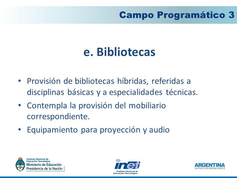 e. Bibliotecas Campo Programático 3 Provisión de bibliotecas híbridas, referidas a disciplinas básicas y a especialidades técnicas. Contempla la provi