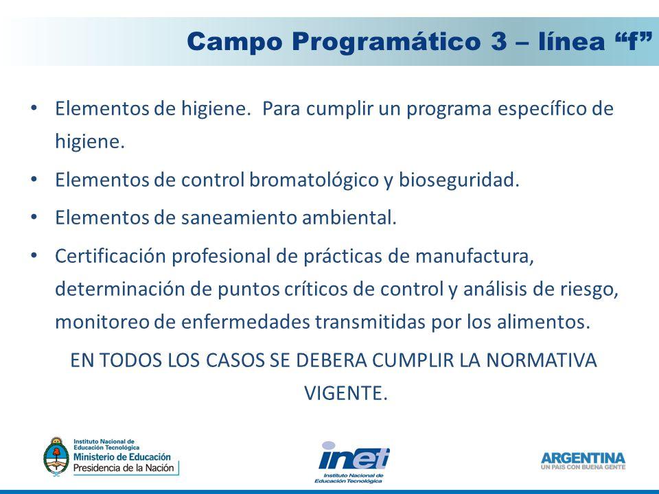 Elementos de control bromatológico y bioseguridad.