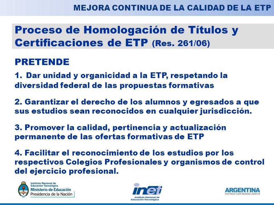Proceso de Homologación de Títulos y Certificaciones de ETP (Res.