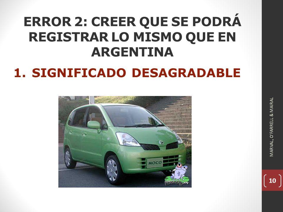 10 ERROR 2: CREER QUE SE PODRÁ REGISTRAR LO MISMO QUE EN ARGENTINA 1.SIGNIFICADO DESAGRADABLE MARVAL, O FARRELL & MAIRAL