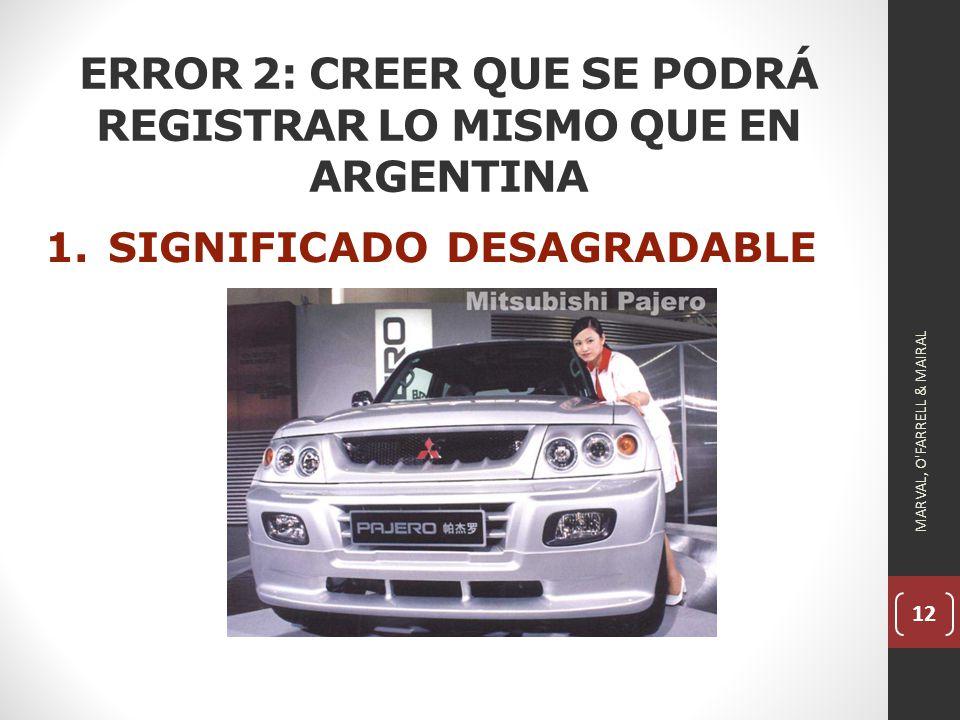 12 ERROR 2: CREER QUE SE PODRÁ REGISTRAR LO MISMO QUE EN ARGENTINA 1.SIGNIFICADO DESAGRADABLE MARVAL, O FARRELL & MAIRAL