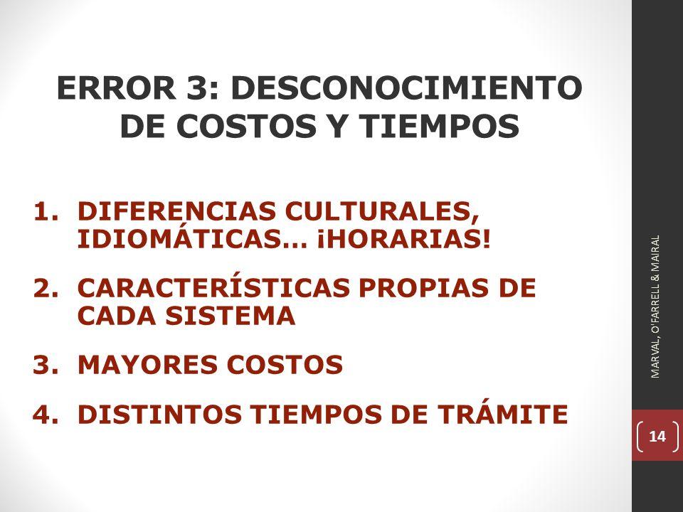 14 ERROR 3: DESCONOCIMIENTO DE COSTOS Y TIEMPOS 1.DIFERENCIAS CULTURALES, IDIOMÁTICAS… ¡HORARIAS.