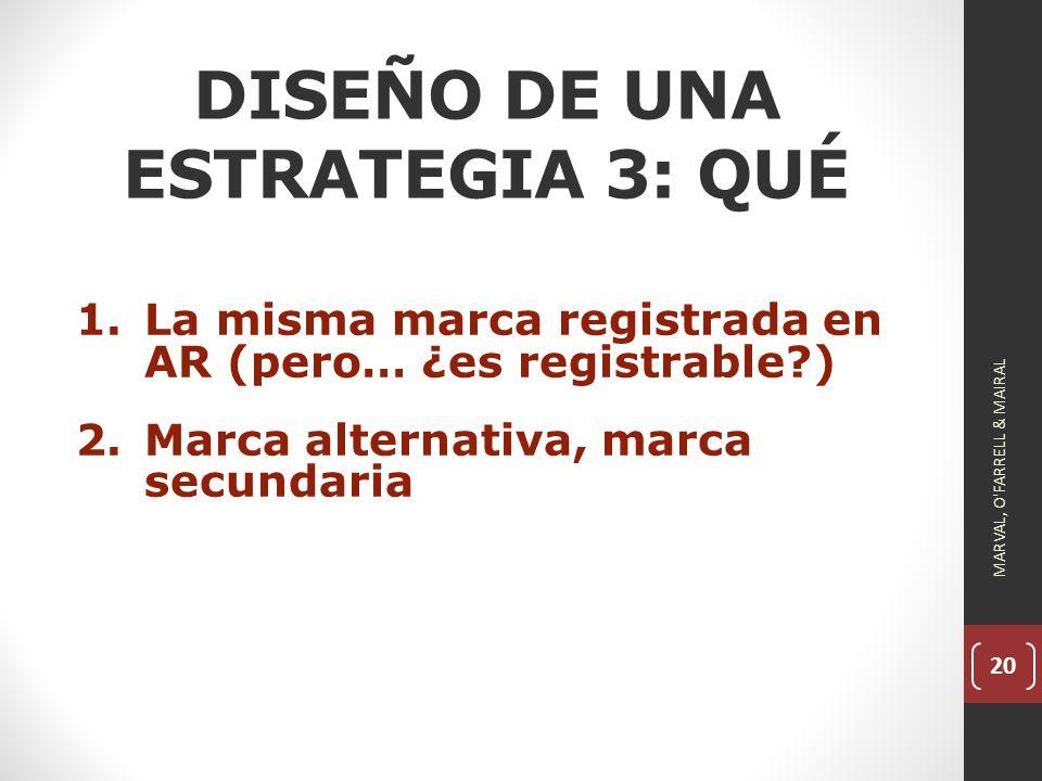20 DISEÑO DE UNA ESTRATEGIA 3: QUÉ 1.La misma marca registrada en AR (pero… ¿es registrable?) 2.Marca alternativa, marca secundaria MARVAL, O FARRELL & MAIRAL