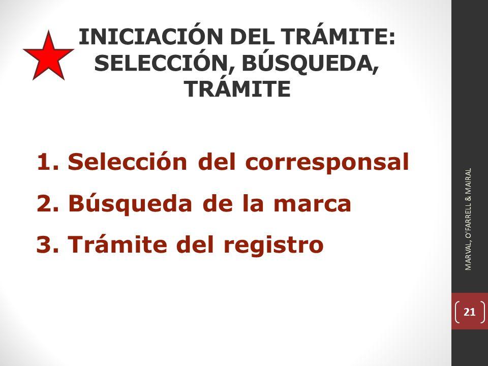 21 INICIACIÓN DEL TRÁMITE: SELECCIÓN, BÚSQUEDA, TRÁMITE 1.Selección del corresponsal 2.Búsqueda de la marca 3.Trámite del registro MARVAL, O FARRELL & MAIRAL