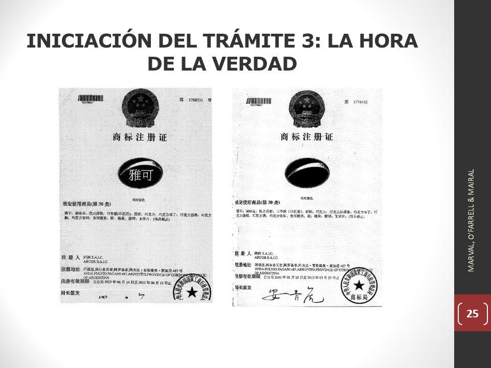25 INICIACIÓN DEL TRÁMITE 3: LA HORA DE LA VERDAD MARVAL, O FARRELL & MAIRAL