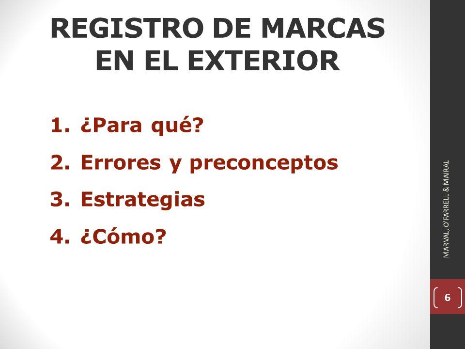 6 REGISTRO DE MARCAS EN EL EXTERIOR 1.¿Para qué.2.Errores y preconceptos 3.Estrategias 4.¿Cómo.