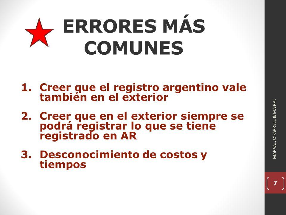 7 ERRORES MÁS COMUNES 1.Creer que el registro argentino vale también en el exterior 2.Creer que en el exterior siempre se podrá registrar lo que se tiene registrado en AR 3.Desconocimiento de costos y tiempos MARVAL, O FARRELL & MAIRAL