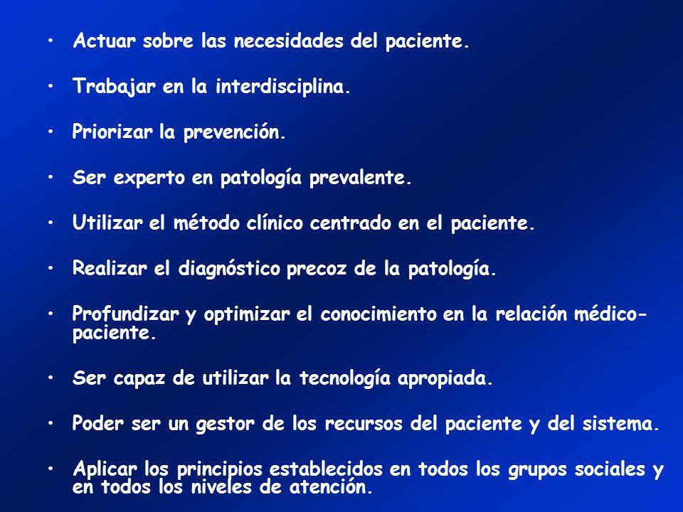 Actuar sobre las necesidades del paciente. Trabajar en la interdisciplina. Priorizar la prevención. Ser experto en patología prevalente. Utilizar el m