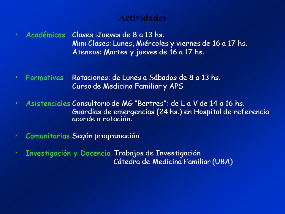 Actividades Académicas Clases :Jueves de 8 a 13 hs. Mini Clases: Lunes, Miércoles y viernes de 16 a 17 hs. Ateneos: Martes y jueves de 16 a 17 hs. For