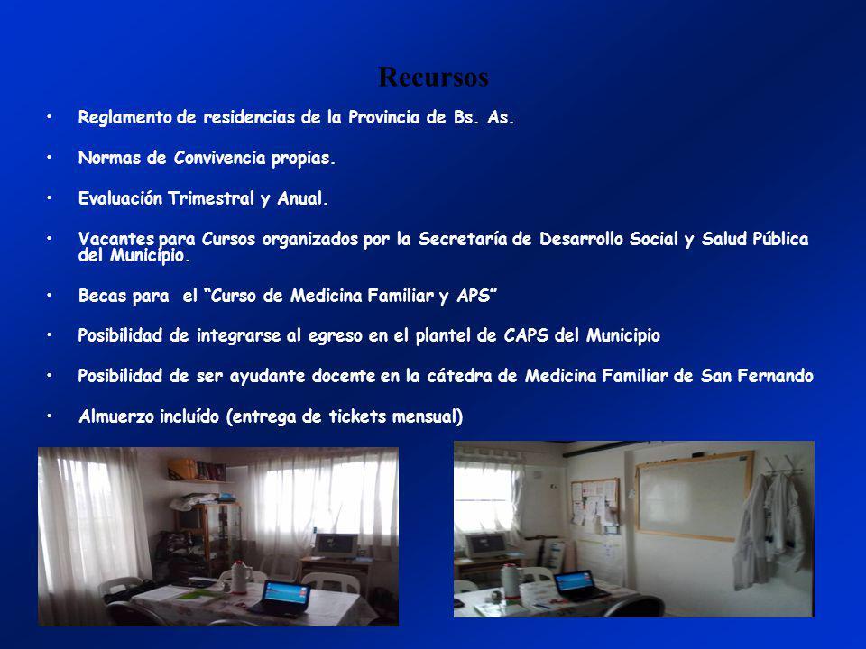 Recursos Reglamento de residencias de la Provincia de Bs. As. Normas de Convivencia propias. Evaluación Trimestral y Anual. Vacantes para Cursos organ