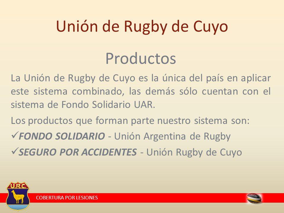 COBERTURA POR LESIONES Unión de Rugby de Cuyo Productos La Unión de Rugby de Cuyo es la única del país en aplicar este sistema combinado, las demás sólo cuentan con el sistema de Fondo Solidario UAR.
