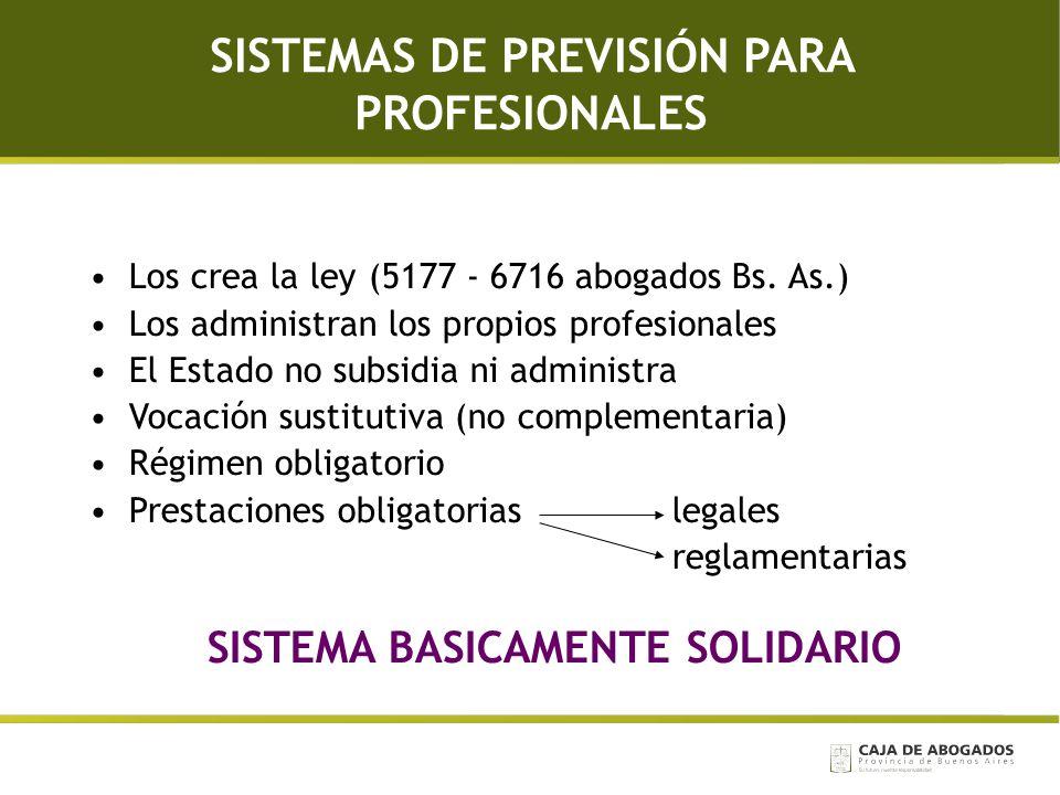 SISTEMAS DE PREVISIÓN PARA PROFESIONALES Los crea la ley (5177 - 6716 abogados Bs. As.) Los administran los propios profesionales El Estado no subsidi
