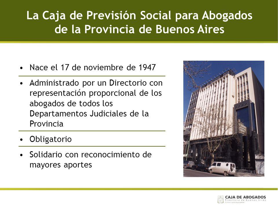 La Caja de Previsión Social para Abogados de la Provincia de Buenos Aires Nace el 17 de noviembre de 1947 Administrado por un Directorio con represent
