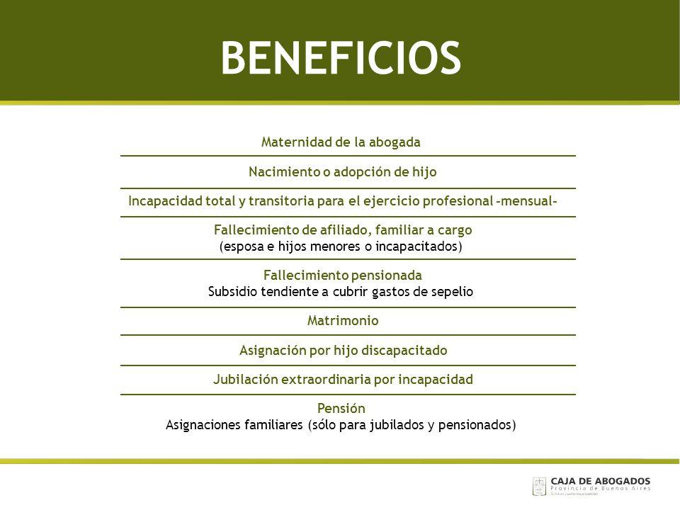 BENEFICIOS Maternidad de la abogada Nacimiento o adopción de hijo Incapacidad total y transitoria para el ejercicio profesional -mensual- Fallecimient