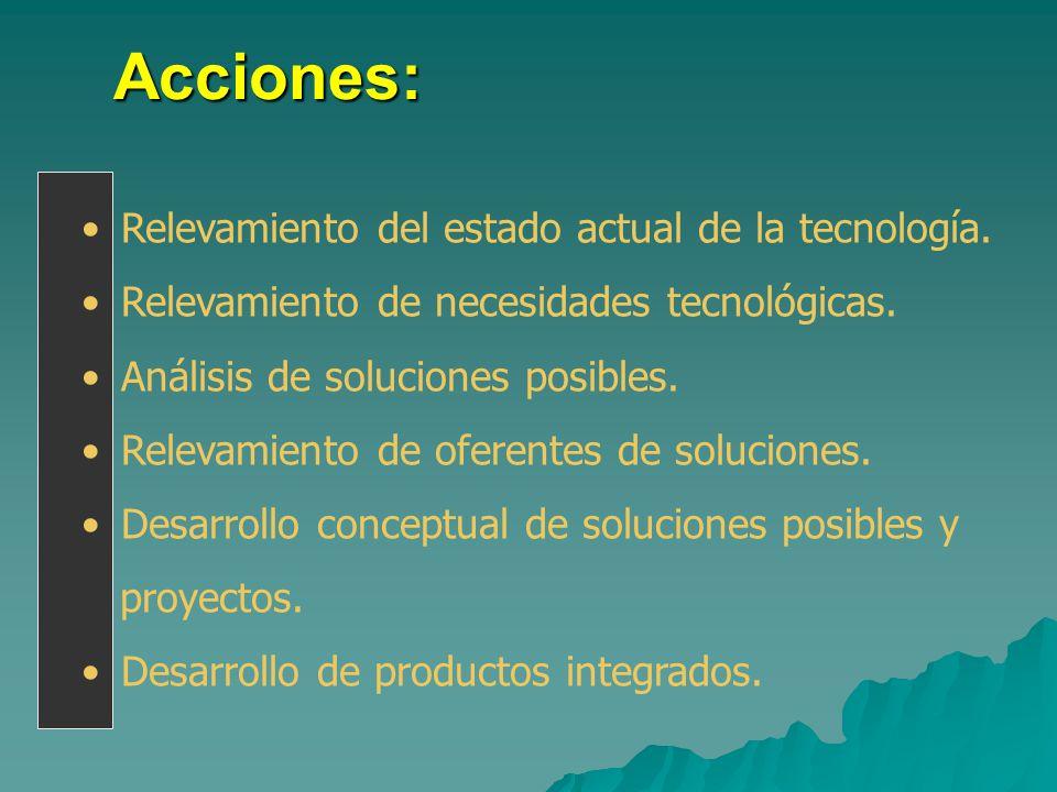 Acciones: Relevamiento del estado actual de la tecnología. Relevamiento de necesidades tecnológicas. Análisis de soluciones posibles. Relevamiento de