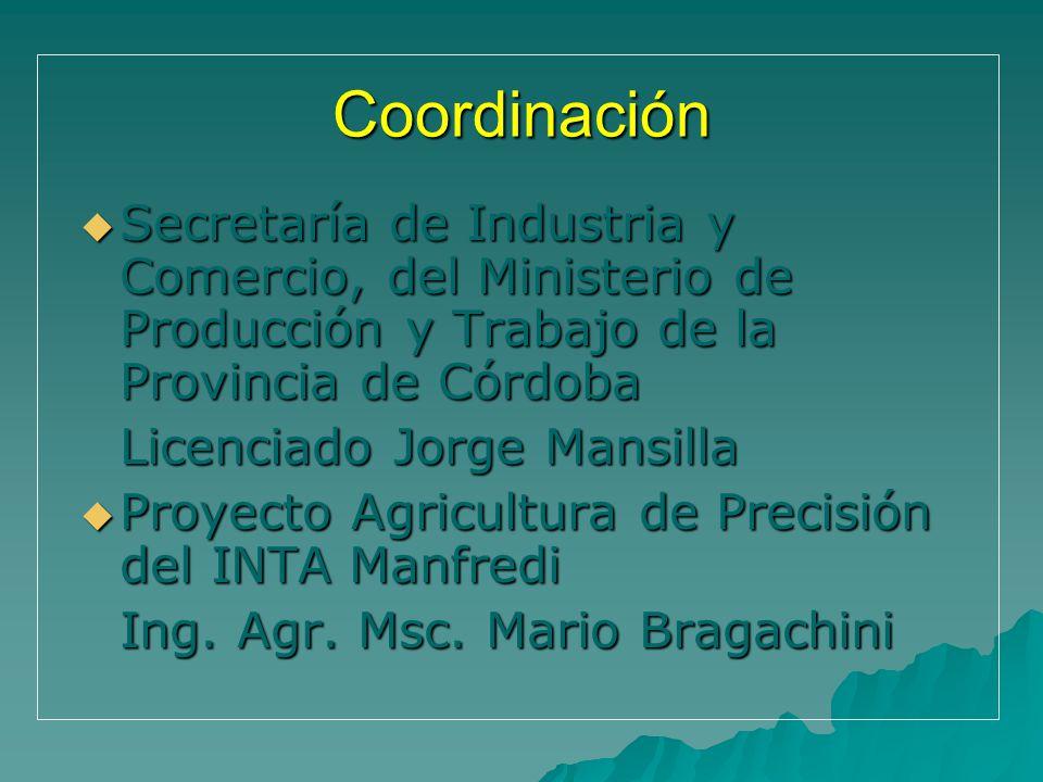 Coordinación Secretaría de Industria y Comercio, del Ministerio de Producción y Trabajo de la Provincia de Córdoba Secretaría de Industria y Comercio,