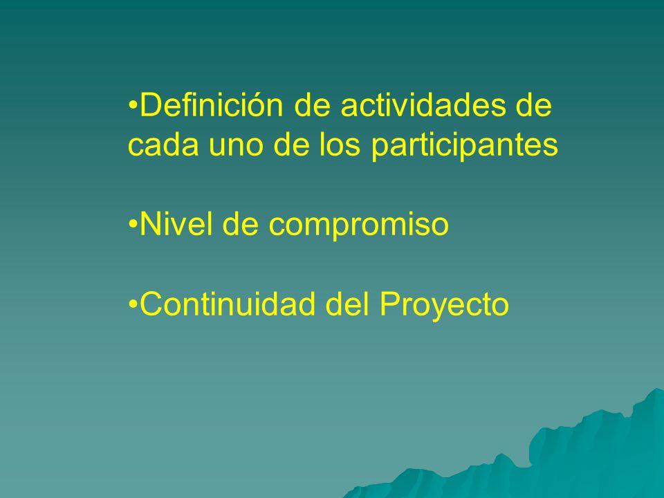 Definición de actividades de cada uno de los participantes Nivel de compromiso Continuidad del Proyecto